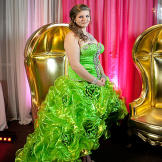A lime green cancan skirt and blinged bodice make an unforgettable statement at the ball.