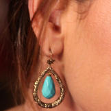Turquoise/Gold Drop Earrings from