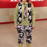 Rebecca had several pieces in her wardrobe, such as these cow pants, t