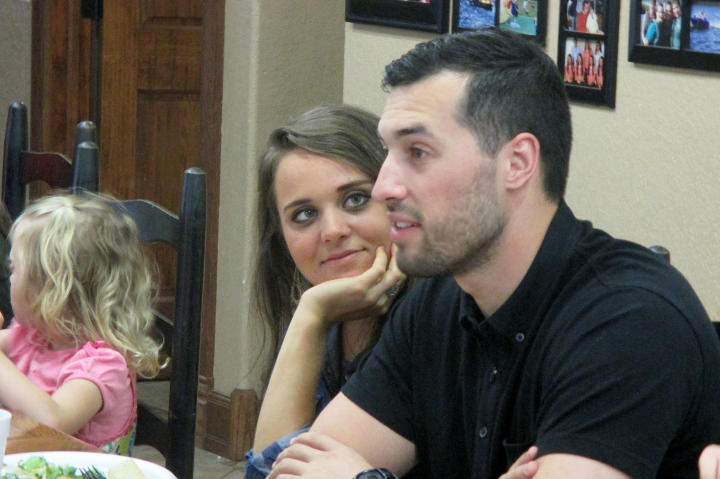 Jinger stares lovingly at Jeremy during his visit to Arkansas
