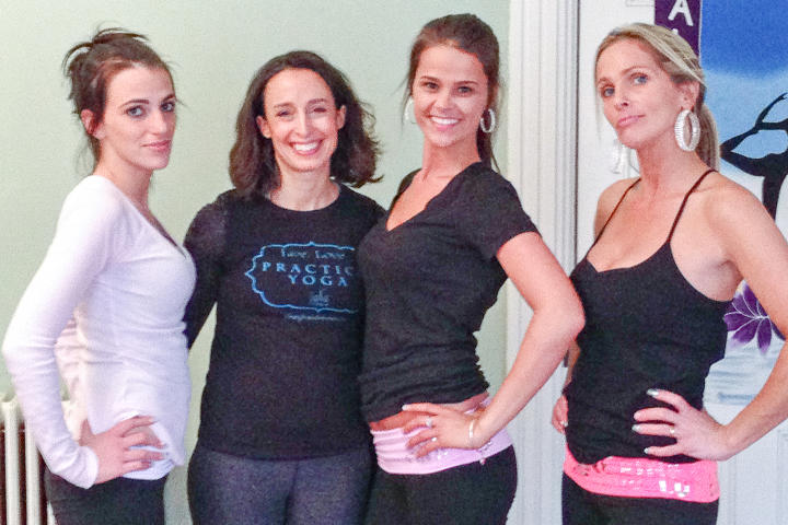 At a local yoga studio, sisters (from left)