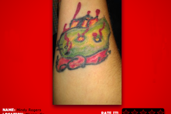 Supposed to be Hello Kitty? Then a zombie? I honestly don't see either in this tattoo!