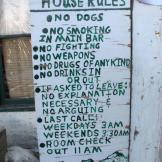 "The ""House Rules"" sign at Fairview Inn in Talkeetna, Alaska."