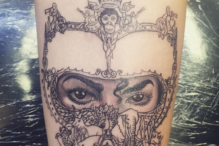 Michael jackson s daughter honors him with elaborate for Jackson name tattoo