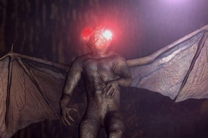 "Legend has it that the Mothman was reportedly spotted near an area known as the ""TNT are,"" a former bomb-making plant built during WWII. It's a flying creature that is a cross between a man and an alien, with glowing red eyes."