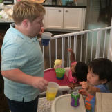 While Jen is at work, Bill gets the kids ready to dye some eggs, an Ea