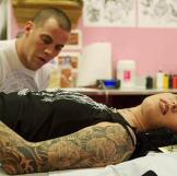 Steve-O tattooing Kat.