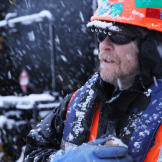 Alaska Railroad crew member Danny Forsman works through the bone-chill