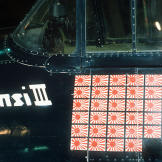 The 34 Japanese flags on David McCampbell's F6F Hellcat representing his kills during World War II as a Navy flyer.