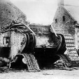 A destroyed British tank at Rumilly during the World War I battle of Cambrai, France, 1917.  Watch video of the