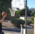 Steve Simons throws some hoops before checking out the inside of a pro