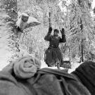 A great persepctive from a Red Army soldier as a Nazi soldier comes out of the forest, December 1941.