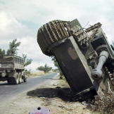A German Tiger tank on its side in a ditch north of Rome, June, 1944. Watch video of the