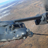 A CV-22 Osprey receives fuel from a 522nd Special Operation Squadron MC-130J Combat Shadow II over New Mexico on Jan. 4, 2012.