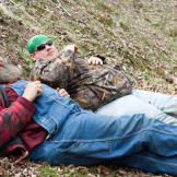 Huckleberry likes his naps. He and Buck take advantage of some down ti