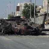 A blown out tank in Aleppo during the Syrian civil war, October 6, 201