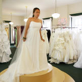 Aya falls for this classic A-line wedding gown -- it's perfect, and de