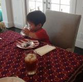 William finishing lunch.