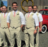 Kevin and his groomsmen wore tan pants and vests with suspenders and c