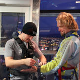 The final adjustments are made to Kody's suit before he does the Sky Jump.