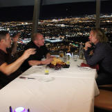 Brett, Sean and Kody have dinner at the Top of the World restaurant at the Stratosphere.