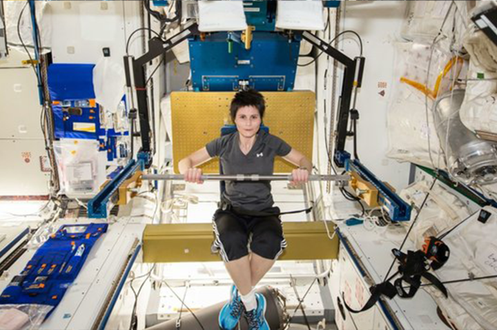 Astronauts' muscles get weaker in low gravity.