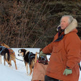 Stan Zuray with his dogsled, with temperatures at minus 25 degrees bel