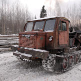 Old Russian skidder. Early loggers used draft animals including mules, horses and oxen, to pull logs.