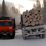 Logging truck on the icy road.