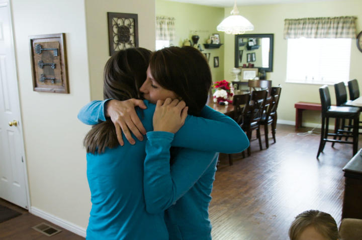 There's no shortage of hugs in the Williams household!