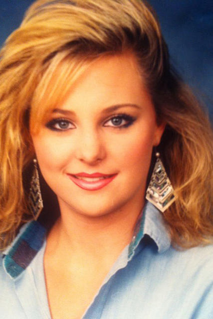 Carmindy in high school, she's got that 80's glam look down!