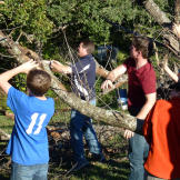 Ben and the Duggar men clearing branches on the Duggar property.