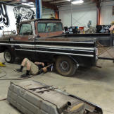 Keenan, Hons and Dustin DeLeon work on the 1965 Chevy C-10 pickup truc