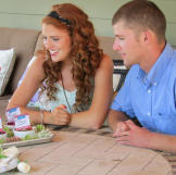 The wedding featured fruit cobbler for dessert. Here, Audrey & Jeremy