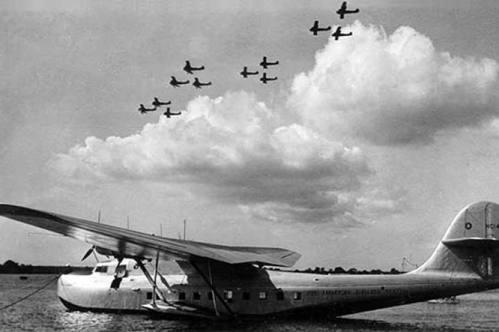 The beautiful Pan American Airways Martin M-130 China Clipper at Pearl Harbor in the 1930s.