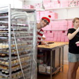 This is where the cupcake magic happens! Waldo's lurking behind trays