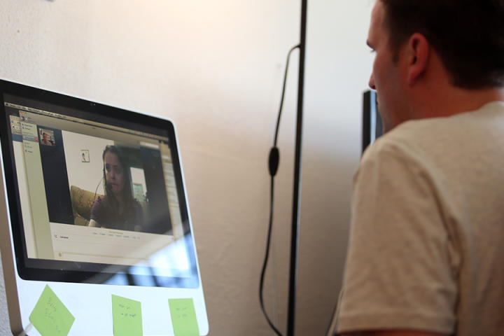 Alan and Kirlyam video chat, exchanging love and sentiments long-distance from Los Angeles to Brazil.