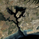 Pearl Harbor as viewed from space.