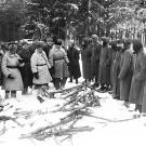 The remains of what was a heavily armed German unit surrenders on the