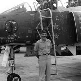 Robin Olds next to his F-4C Phantom II at Ubon Royal Thai Air Force Base.