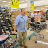 Nathan Engles -- with two shopping carts in tow -- is ready to rumble!