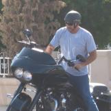Buyer Ed Rosenberg fires up his Harley.