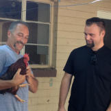 New renter? Ed Rosenberg and Steve Simons find a chicken that was left behind at their new property.