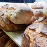 Delicious bread waits to be sold.