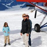 Kate Gosselin and daughter Cara standing on the glacier.