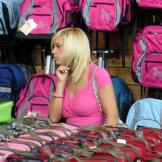 Time for some back-to-school shopping!  Kate browses for backpacks.