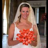 Bride-to-be, Danielle, shows off her bouquet.