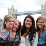 Abby & Brittany with friends Erin and Becca near the London Tower Brid