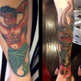 Before and after of a merman tattoo cover-up.