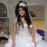 Danielle's unbelievable dress includes a sheer corset and glitzy tiara